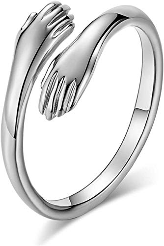 Fashion Love Hug Rings for Men Women Gold Silver Party Rings Open Ring Gift,Give Me A Hug Silver Open Ring Adjustable Antique Rings Engagement Statement Band for Women Girls Men (Silver)
