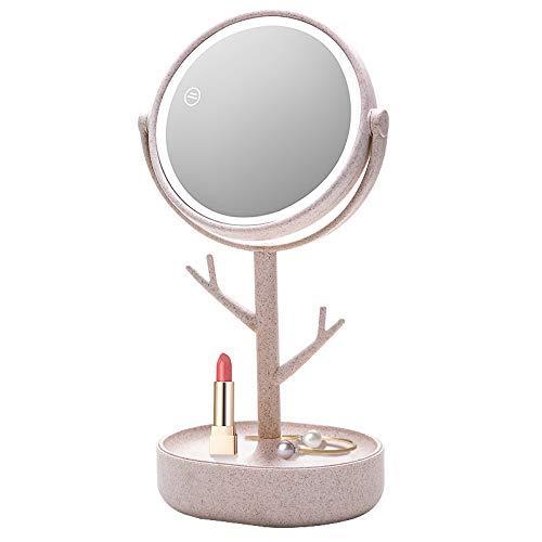 Tokyia Espejo de maquillaje iluminado, 22 LED espejo cosmético pantalla táctil atenuación 180 ° rotación con soporte de carga batería espejo y alimentación USB