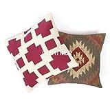 iinfinize – Juego de 2 almohadas Kilim anudadas a mano rústicas fundas de cojín tejidas decorativas para el suelo, fundas de cojín de lana de yute rústico