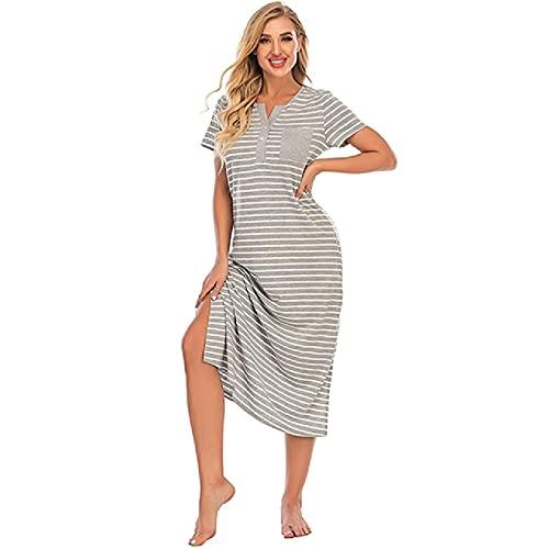 KGJYVN Pijama de Mujer Simple a Rayas por Encima de la Rodilla Camisón Informal Largo con Botones de Bolsillo Ropa para el hogar