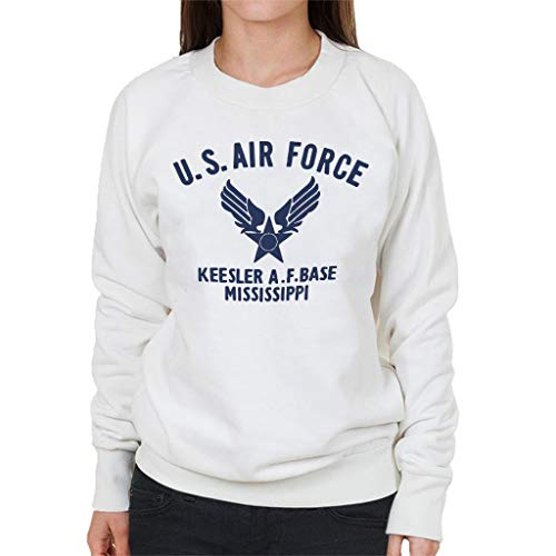 US Airforce Keesler AF Base Mississippi Navy blauwe tekst vrouwen Sweatshirt