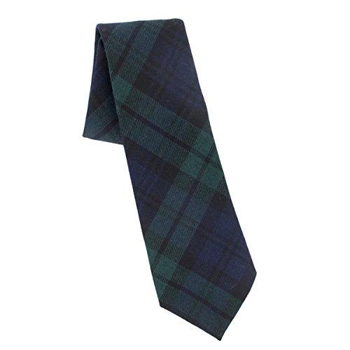 Cravate moderne en laine écossaise noire (tartan Black Watch)
