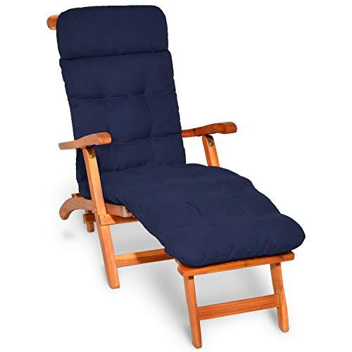 Beautissu Auflagen für Deckchair Flair DC Gartenliege Auflage 200x50x8cm Liegestuhl Polster mit Schaumflockenfüllung Gartenmöbel Kissen in Dunkelblau