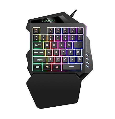 Tastiera da Gioco, iAmotus a Una Tastiera Mano 35 Tasti Retroilluminazione a LED RGB Mini Portatile Gioco Controller con Poggiapolsi Design Ergonomico Compatibile con Windows, Mac (Nero)