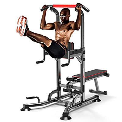 Power Tower Dip Station & Dumbbell Bench High Capacity 330lbs, Standard Weight Sit Up Bench Adjustable Height Heavy Duty Steel Multi-Function Fitness Pull Up Chin Up Tower Equipment for Home Office