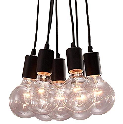 Asvert Pendelleuchte Vintage Multi Cord Edison Birne Schwarz Scheune Hängelampe Beleuchtung mit 7 Köpfe, Schwarz (7 Lampenfassungen ohne Leuchtmittel)