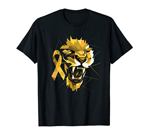Childhood Cancer Lion Warrior - Goldenes Bewusstseinsband T-Shirt
