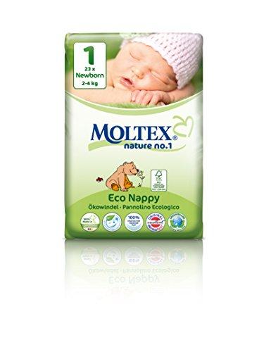 caja de cartón - 138 unidades MOLTEX Nature No1 pañales ecológicos bio oso pañales bebés NEWBORN Gr 1 (2-4 kg)