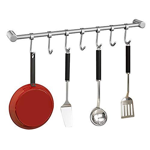 OIZEN Hakenleiste Küchenreling Hängeleiste aus 304 Edelstahl Rostfrei Küchenutensilienhalter Pfannehalter Tassenhalter mit 7 Haken Küchenhelfer Kochzubehör Küchenutensilien