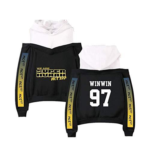 Fittrame NCT 127 Merchandise Off Shoulder Hoodie Kpop Kleidung Pullover Sweatshirt, Black Winwin, Medium