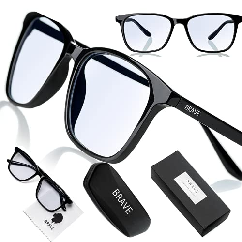 Brave Blaulichtfilter Brille Computer Glasses mit transparenten Linsen für Arbeit, Gaming, PS4; Schutz gegen Schlaflosigkeit, Kopfschmerzen, Augenmüdigkeit; Unisex (Herren/Damen)