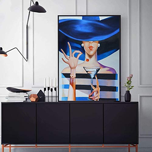GUDOJK muurschilderij modern dames met champagne canvas kunst schilderij wanddecoratie poster en print voor woonkamer meisjes kamer mode decoratie 50x70cm(20x28inch)