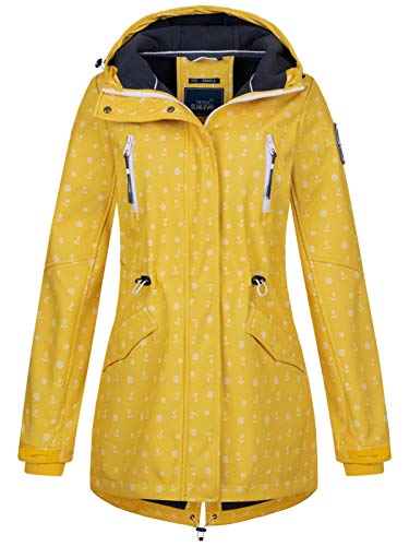Sublevel Damen Softshell-Jacke Kurzmantel LSL-367 Anker-Alloverprint Middle Yellow M