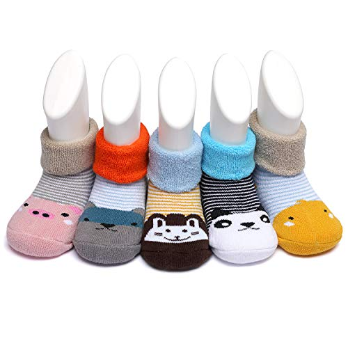 Adorel Baby Socken Baumwolle Frottee Gefüttert 5er-Pack Gestreift Tier 20-21 (Herstellergr. S)