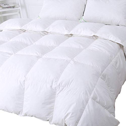 King Size 13.5 Tog - White Goose Feather & Down Duvet - 100% Cotton Anti Dust Mite & Down Proof Fabric - Anti Allergen - Luxury Winter Quilt
