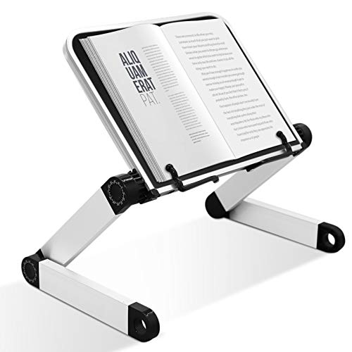Book Stand Laptop Stand Adjustable Book Holder Tray with Page Paper Clips Ergonomic Multi Heights Angles Adjustable Cooking Bookstands for Textbook Recipe Magazine Laptop Tablet Portable