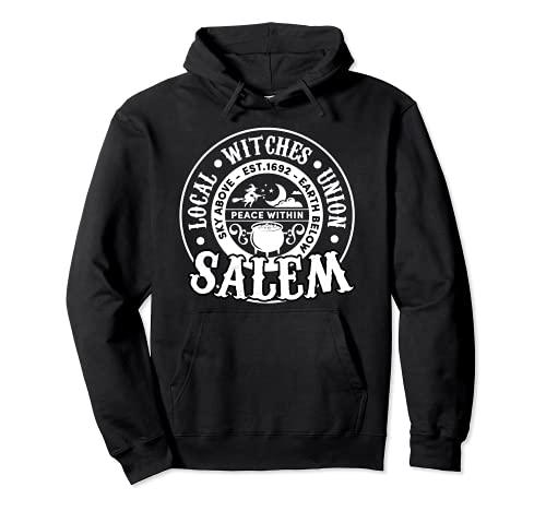 Salem Local Brujas Unión Cielo Sobre la Tierra Est 1692 Halloween Sudadera con Capucha
