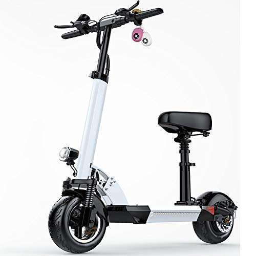 DREAMyun Patinete eléctrico para Adulto, Plegable, con Asiento Scooter eléctrico, autonomía de 40-60 Km, Velocidad máxima de hasta 35 km/h, 500 W/36V Motor, Ruedas de 10 Pulgadas,Blanco,10.4AH