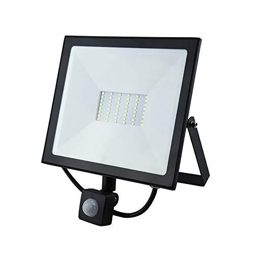 Luxvista 50W PIR Foco Reflector con Sensor Movimiento, Proyector LED Exterior Impermeable IP65 Luz de Inundación Seguridad Floodlight profesional al aire libre para Jardín/Terraza(Luz Fría 6000K)