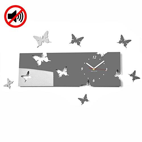 Grote moderne wandklok vlinder grijs liggend formaat 20 x 60 cm, 3d DIY, woonkamer, slaapkamer, kinderkamer