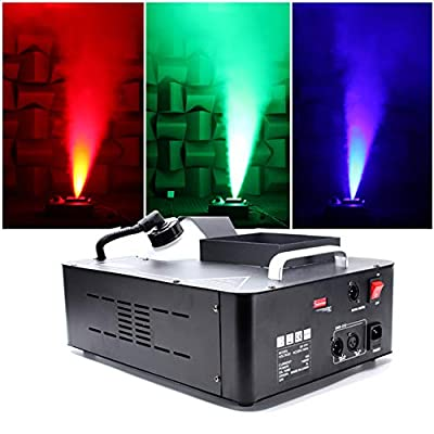 UKing Fog Machine 1500W Smoke Machine with RGB LED Lights Controlled by Wireless Remote and DMX 512 for DJ Disco Club Halloween Wedding Party Stage Lighting Shows