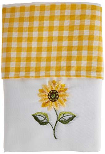 Słonecznikowy ołówek plisa nakrycie głowy zasłony i krawaty kuchenne, żółty/biały, 100 x 102 cm