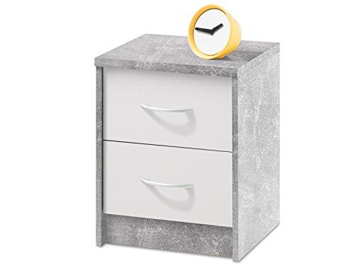 möbelando Nachtkonsole Nachttisch Nachtkommode Nachttischschrank Bettkommode Olli I Beton/Weiß