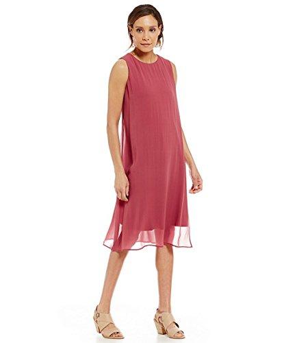 Eileen Fisher Layered Silk Dress, Size-XL, Rosewood
