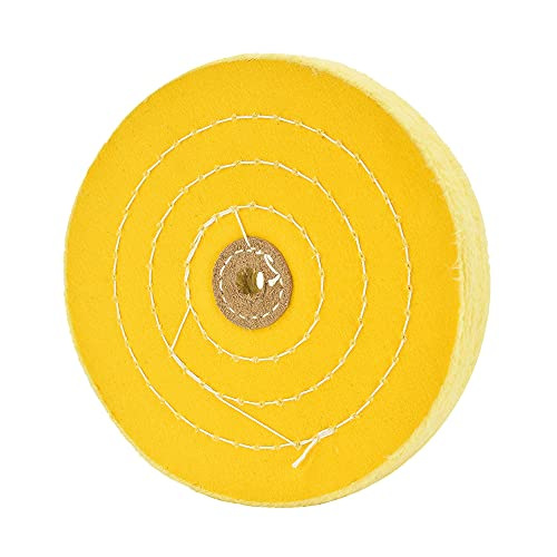 Paño extra grueso de alta calidad de 15,2 cm, disco de pulido amarillo mediano (70 capas) para lijadora de mesa con orificio de 1,27 cm, 1 unidad