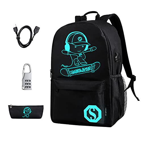 BSTcentelha Luminous School Backpack Anime USB chargeing Port with Laptop...