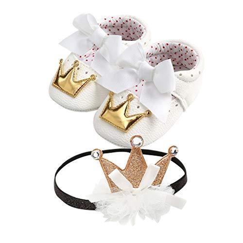 Lazzboy Baby Mädchen Pailletten Bowknot Kleinkind Erste Wanderer Kind Schuhe + 1 Stück Haarband Blume Zufälliger Lauflernschuhe Krabbelschuhe Babyhausschuhe(Gold,13)