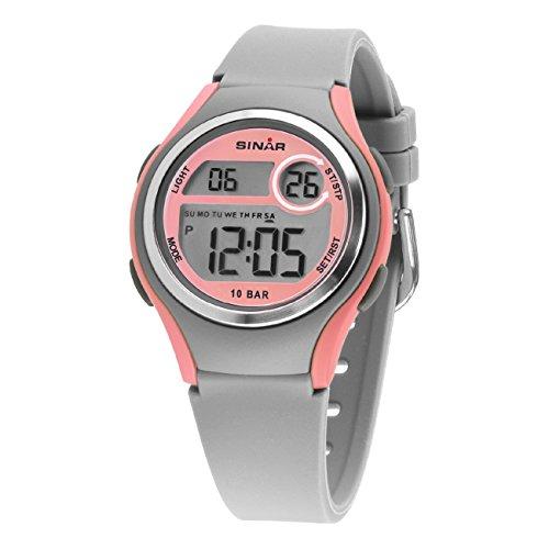 SINAR Mädchen-Armbanduhr Jugenduhr Sport Outdoor Digital LCD Quarz 10 bar Licht Silikonband XE-64-9
