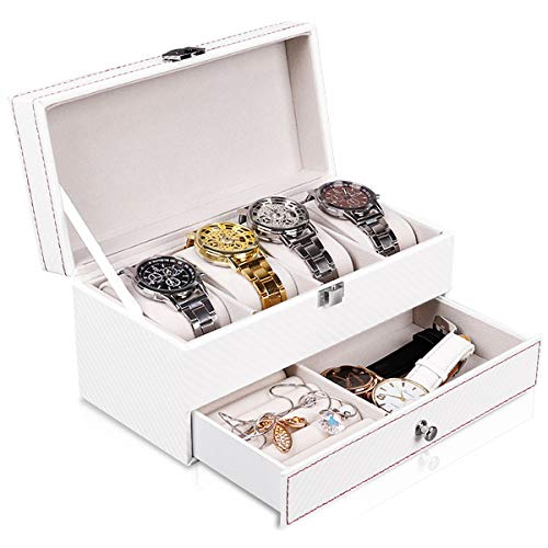Watch Case and Organizer with Jewelry Storage for Men and Women, 6 Slot Luxury Design Display Watch Holder Box with Accessories Drawer, Metal Buckle with Carbon Fiber and PU Leather, Black GK236 (White)