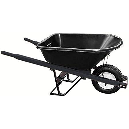 Bon 28 910 Premium Contractor Grade Poly-Tray Single Wheel Wheelbarrow with Steel Handle and Flat Free Tire, 5-3/4 Cubic Feet