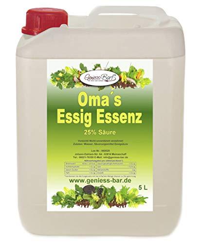 Oma`s Essigessenz 25 Prozent Säure 5 L Unser Geschmackssieger für die gute Küche & Haushalt / Entkalken / Reinigen ohne Chemie