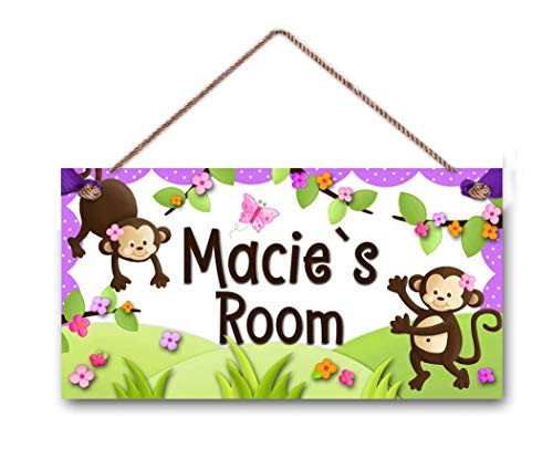 AJHERO Personalized Name's Girly Monkey Pink Purple Brown Door Sign Wood Plaque Hanging Wall Art Decor Gift
