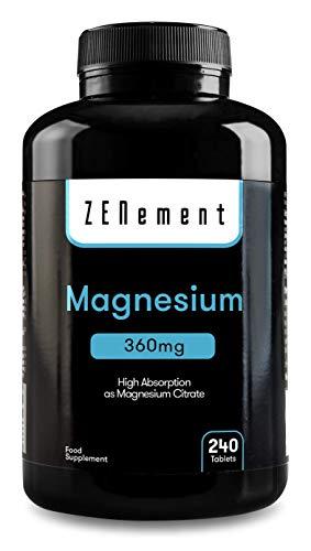 Magnesio, 360 mg, 240 Comprimidos | ayuda a los sistemas psíquico, nervioso, muscular y óseo | de Zenement
