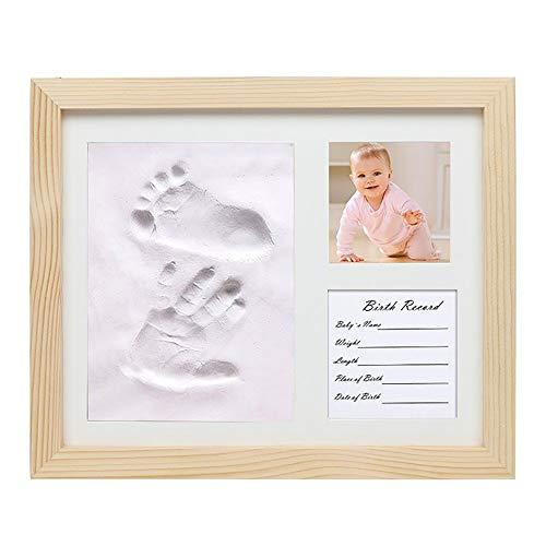 Kit cadre photo empreinte de main et empreinte béb Bébé & Cherished Handprint Empreinte photo Kit de cadre avec du nouveau-né Safe mémoire d'encre Pad parfait cadeau Keepsake for les nouveaux parents