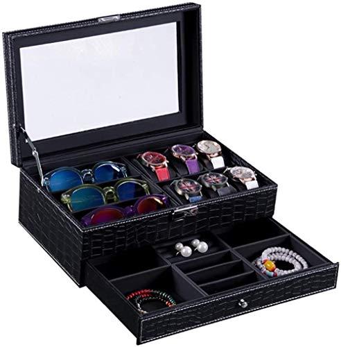 SHANCL Scatole Decorative Verify Jewelry Box Eyewear di immagazzinaggio di Caso di Esposizione Ideale for Occhio Indossa Gioielli (Color : Black, Size : 33X20X10CM)