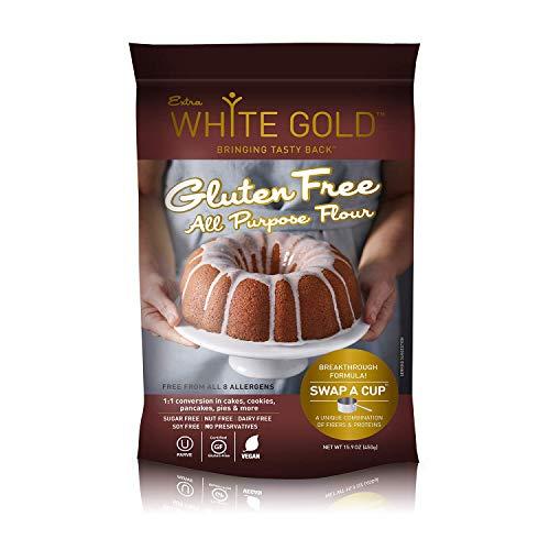 Extra White Gold Gluten Free All Purpose Flour – Gluten Free Flour Blend For Baking & Cooking – [Kosher] [Gluten Free] [Vegan] [Soy Free] [Nut Free] [Dairy Free] – 15.9 Ounces