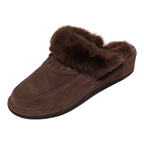 Hollert Leather Lammfell Hausschuhe Encaje Premium Damenschuhe aus 100% Merino Schaffell Größe EUR 38, Farbe Braun