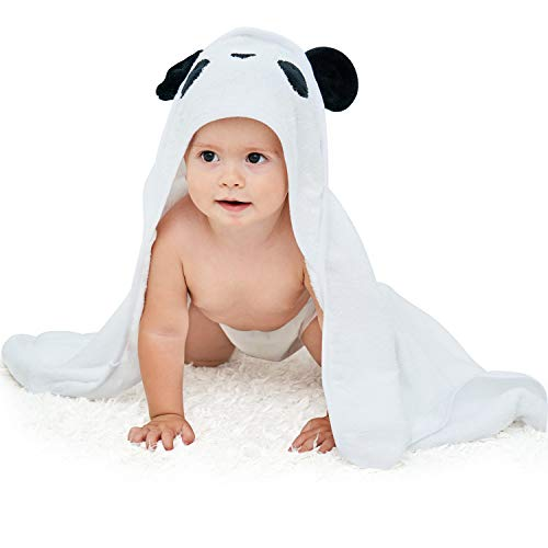 "Touchat Bamboo Hooded Baby Towels, Ultra Soft and Hypoallergenic Baby Bath Towels with Hood for Toddler Infant Newborn, Large and Super Absorbent Toddler Towels for Baby Boy Girl(Panda, 35.1"" x 35.1"")"