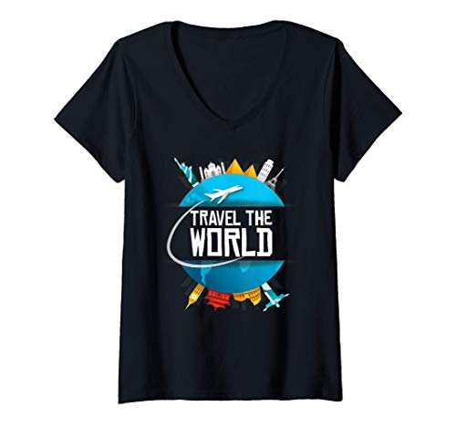 Mujer Viaje alrededor del mundo Regalo para el viajero Camiseta Cuello V