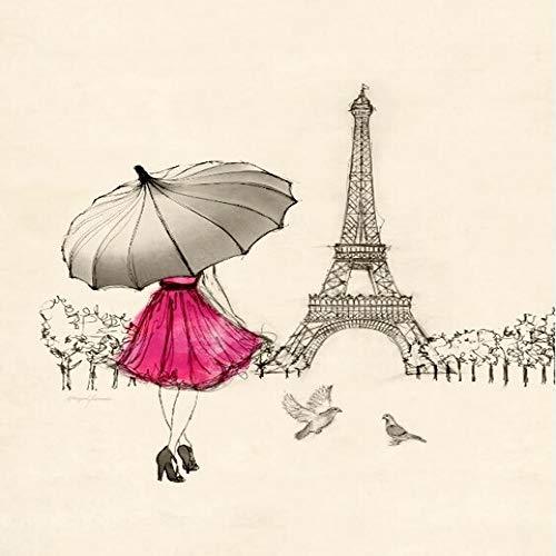 Aawmju 1000-teiliges Puzzle für Erwachsene, Mädchen, das einen roten Regenschirm hält hochwertige recycelbare, Familienspiel, Teambuilding, Geschenk und Geschenk für Liebhaber oder Freunde 50x75cm