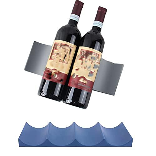 MiaLover 2 unidades de estantes de estilo europeo para botellas de vino o champán, organizador para frigorífico, despensa, encimera de cocina, bar o bebidas (azul, gris)