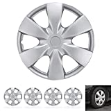 "BDK Wheel Guards – (4 Pack) Hubcaps for Car Accessories Wheel Covers Snap Clip-On Auto Tire Rim Replacement for 15 inch Wheels 15"" Hub Caps (Triangular Spokes)"