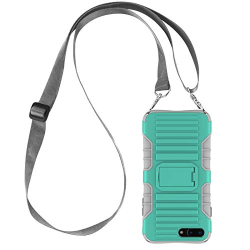 E-Tree Crossbody Lanyard Case for iPhone 7 Plus / 8 Plus 5.5-Inch with Kickstand, Shockproof Dual Layered(Hard PC with Soft TPU), Anti-Lost Detachable Necklace Strap for Kids and Outdoors- Mint Green