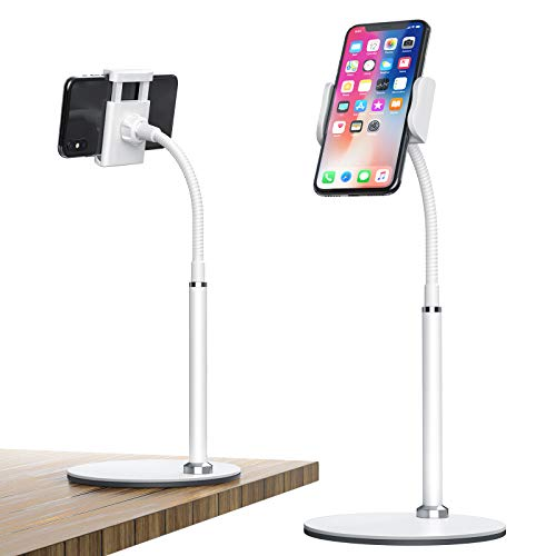 FAPPEN Handy Ständer, Verstellbare Tisch Handy Halterung Multi-Winkel Handy Halter Ständer für iPhone12 11 Pro Xs Max Xs 8 7 Plus, Samsung S20 S10, Huawei und Geräte von Geräte von 3.5-6.5 Zoll (Weiß)
