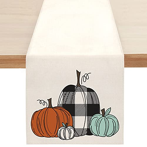 Sambosk Fall Buffalo Pumpkin Table Runner, Autumn Farmhouse Table Runners for Kitchen Dining Coffee or Indoor and Outdoor Home Parties Decor 13 x 72 Inches SK006