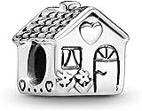 MariaFonte Bead charm a forma di casa in Argento Sterling 925, Compatibile con Le più Diffuse Marche di Braccialetti e collane.